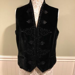 Vintage Bloomingdales Velvet Embroidered Vest